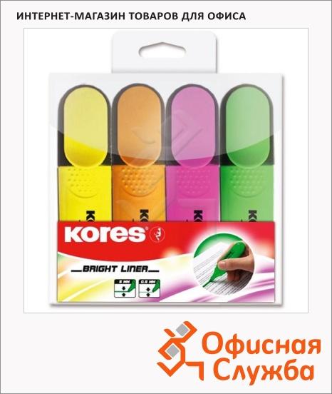 фото: Текстовыделитель Kores набор 4 цвета 1-5мм, скошенный наконечник