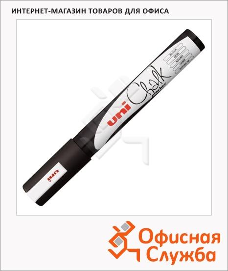 фото: Маркер меловой Uni Chalk PWE-5M черный 1.8-2.5мм, круглый наконечник, для окон и стекла