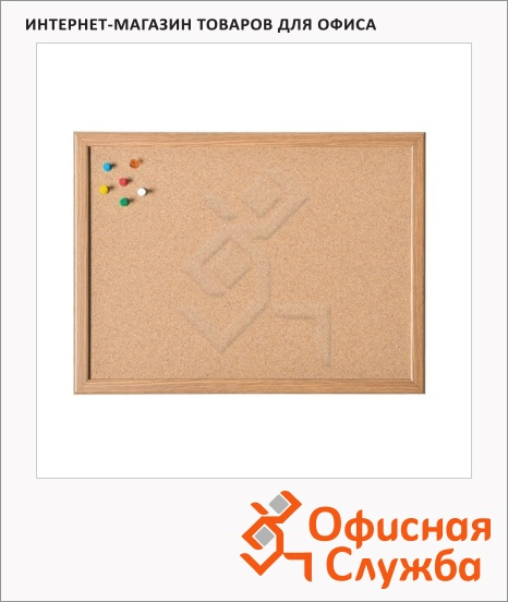 фото: Доска пробковая Magnetoplan 121924 60х100см коричневая, деревянная рама