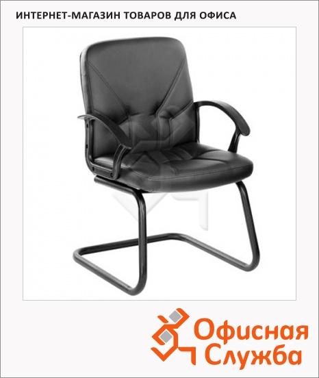 фото: Кресло посетителя Чип иск. кожа черная, на полозьях