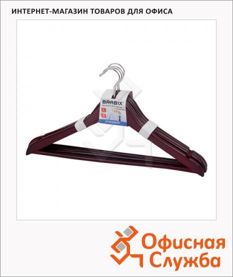 фото: Плечики для одежды Brabix Стандарт 5 шт/уп 45 см, темно-коричневые