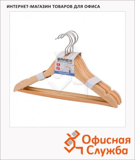 фото: Плечики для одежды Brabix Стандарт 5 шт/уп 36 см, сосна