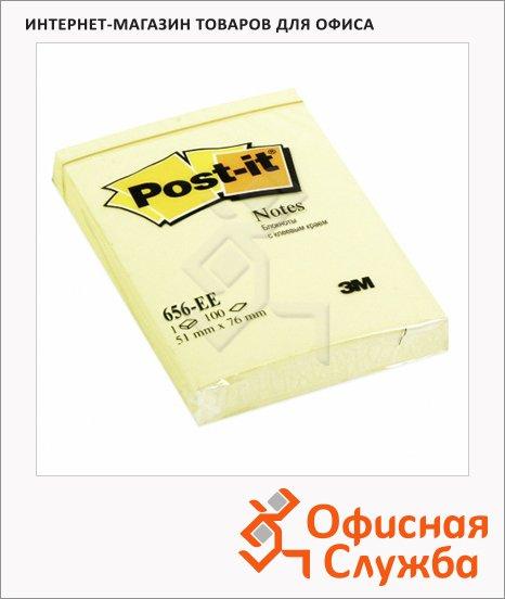 Блок для записей с клейким краем Post-It Classic желтый, пастельный, 51x76мм, 100 листов, 656