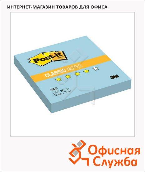 Блок для записей с клейким краем Post-It Classic голубой, пастельный, 76x76мм, 100 листов, 654-В
