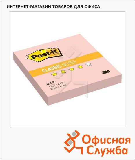 Блок для записей с клейким краем Post-It Classic розовый, пастельный, 76x76мм, 100 листов, 654-Р