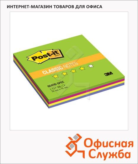 Блок для записей с клейким краем Post-It Classic весенняя радуга, 4 цвета неон, 76х76мм, 100 листов, 654 SPRING