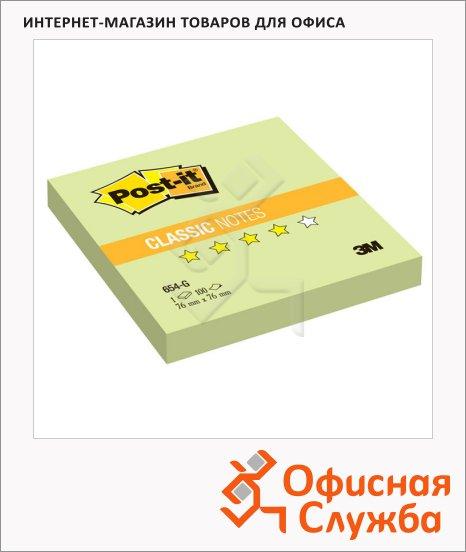 Блок для записей с клейким краем Post-It Classic зеленый, пастельный, 76x76мм, 100 листов, 654-G