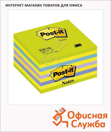 Блок для записей с клейким краем Post-It Classic 5 цветов, неон, 76х76мм, 450 листов, 2028-NB