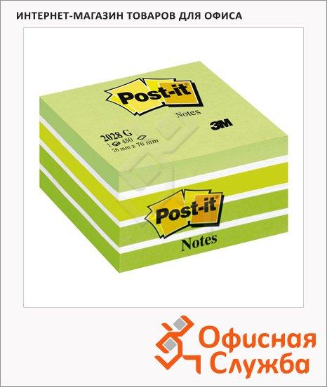 фото: Блок для записей с клейким краем Post-It Classic зеленый пастельный, 76х76мм, 450 листов, 2028-G