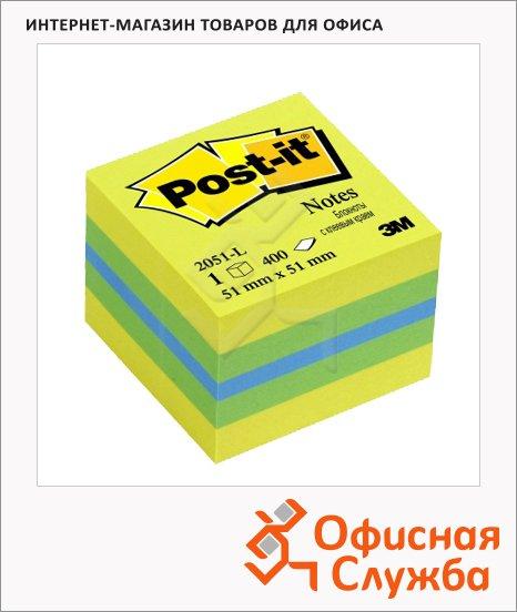Блок для записей с клейким краем Post-It Classic 3 цвета, 51х51мм, 400 листов, неон, 2051-L