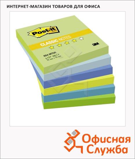 Блок для записей с клейким краем Post-It Classic 6 цветов, 76x76мм, 6х100 листов, холодная неоновая радуга, 654-МТ