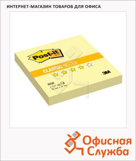 Блок для записей с клейким краем Post-It Classic желтый, пастельный, 76х76мм, 100 листов, Z-блок, R330