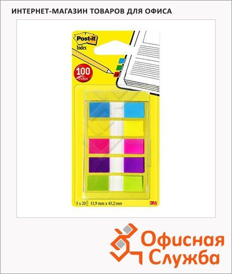 Клейкие закладки пластиковые Post-It Professional 5 цветов, 12х43мм, 100шт, в диспенсере, 683-5CBX