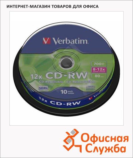 Диск CD-RW Verbatim 700Mb, 12х, Cake Box, 10шт/уп