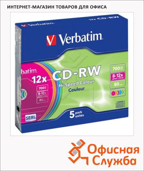 Диск CD-RW Verbatim Slim 700Mb, 8-12x, 5шт/уп