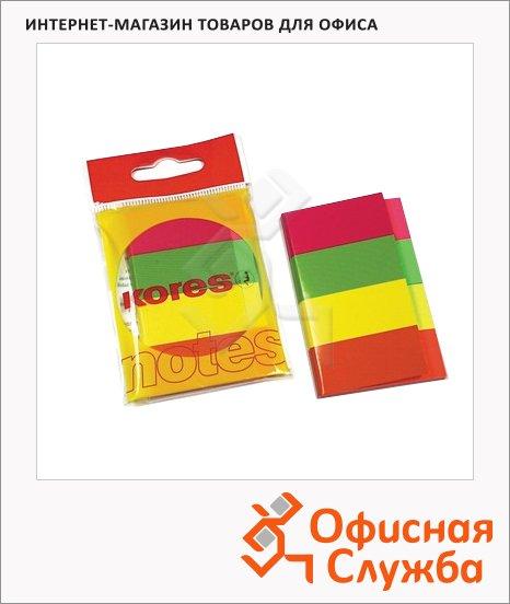 фото: Клейкие закладки бумажные Kores 20х50мм 4цвета по 50 листов