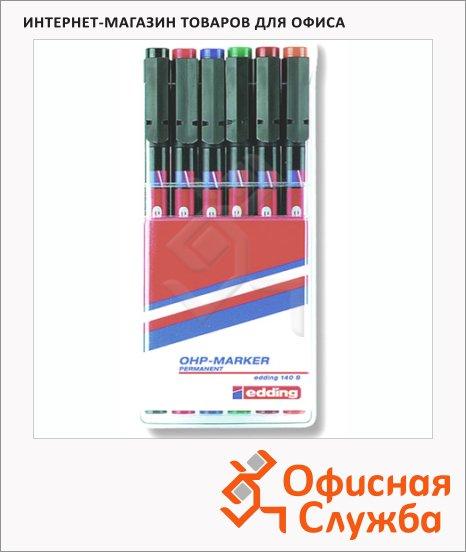 Маркер для пленок Edding 140S набор 6 цветов, 0.3мм, круглый наконечник, для деликатных гладких поверхностей