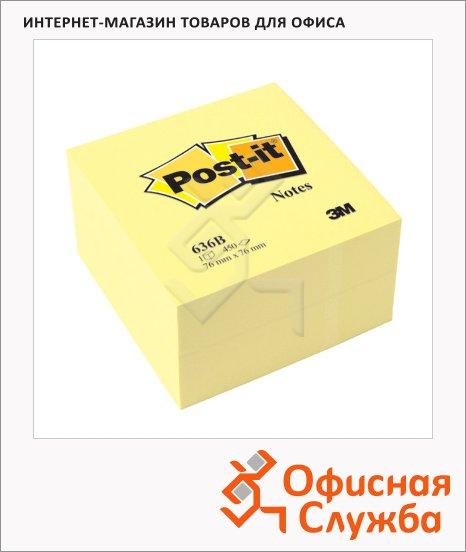 Блок для записей с клейким краем Post-It Basic канареечный желтый, пастельный, 76х76мм, 450 листов, 636-В