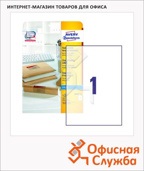 Этикетки адресные Avery Zweckform QuickPeel J8567-25, прозрачные, 210х297мм, 1шт на листе А4, 25 листов, 25шт, для струйной печати