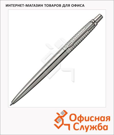 Ручка шариковая Parker Jotter Premium М, синяя, хром матовый корпус