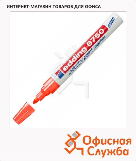 Маркер промышленный лаковый Edding 8750 красный, 2-4мм, упроченный пулевидный наконечник, универсальный, алюминиевый корпус