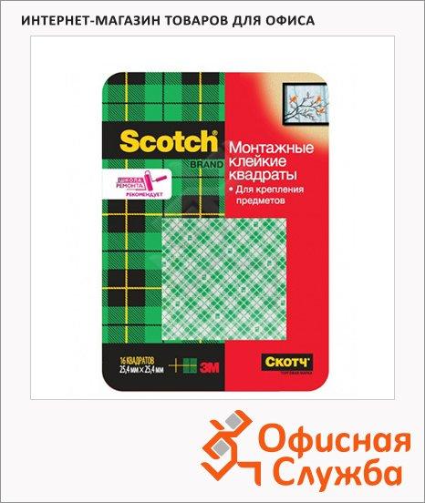 Клейкие квадраты монтажные Scotch Mauntin Tape 25мм х25мм, двусторонние, 16шт/уп