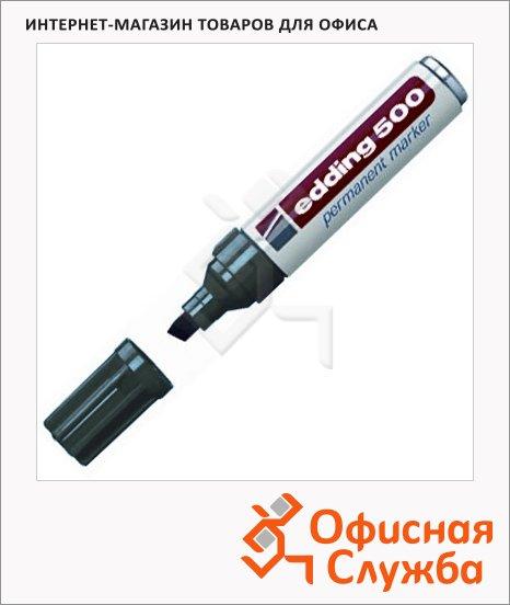 фото: Маркер перманентный Edding 500 черный 2-7мм, скошенный наконечник, универсальный, заправляемый