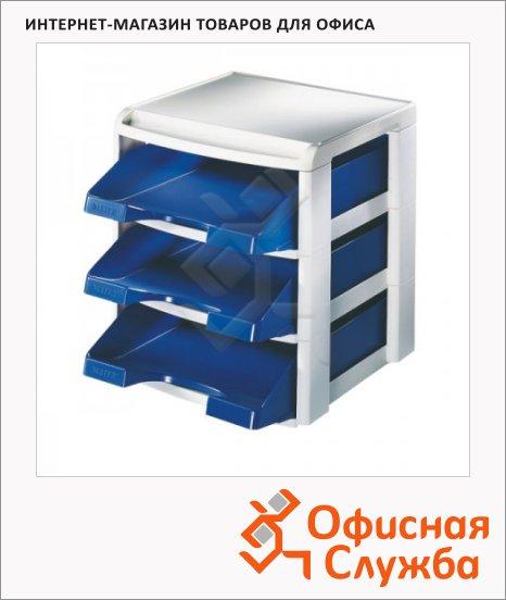 Лоток горизонтальный для бумаг Leitz Plus А4, 3 секции, синий, 53270035