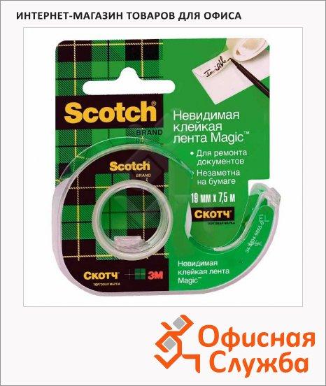 Диспенсер с клейкой лентой Scotch Magic 19мм х7.5м, прозрачный