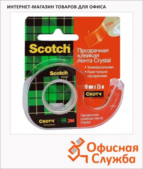 Диспенсер с клейкой лентой Scotch Crystal 19мм х7.5м, прозрачный