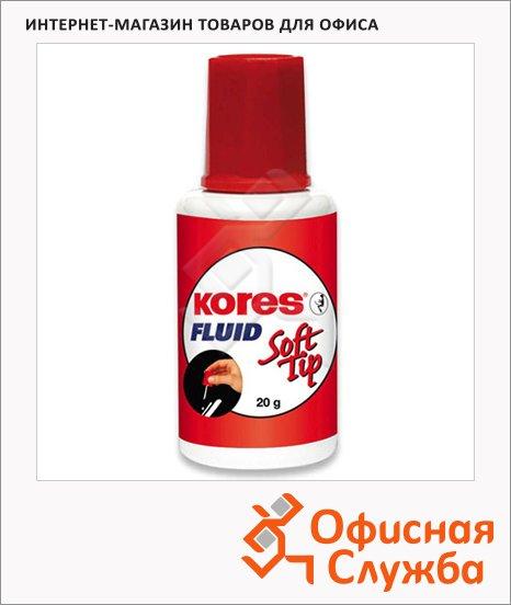 фото: Корректирующая жидкость Kores Soft Tip Fluid 25мл с кисточкой, быстросохнущая