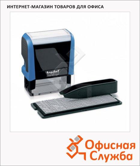 Штамп прямоугольный самонаборный Trodat Printy Typomatic 3 строки, 38х14мм, синий