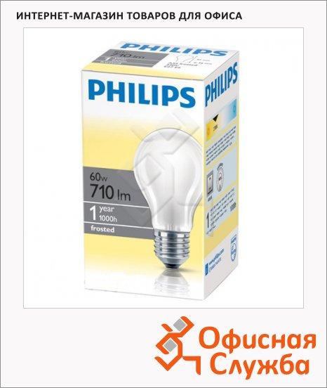 фото: Лампа накаливания Philips A55 FR 60Вт E27, 2700К, теплый белый свет, груша