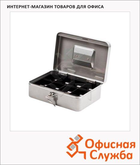 фото: Кэшбокс Office Force T28 ключевой замок, серебристый, 9х18х25см