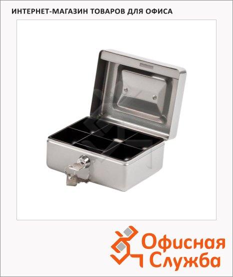 Кэшбокс Office Force T35, ключевой замок, серебристый, 8х12х15см