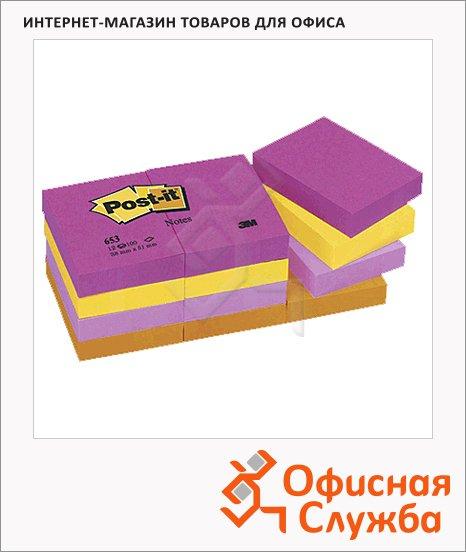 ���� ��� ������� � ������� ����� Post-It Classic 4 �����, ����, 38x51��, 12�100 ������, 653-TF