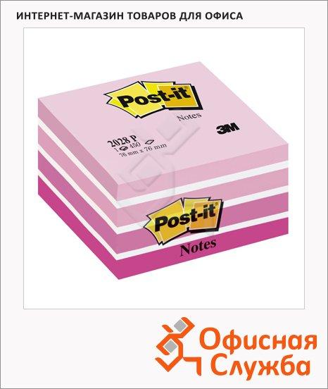 Блок для записей с клейким краем Post-It Classic розовый, пастельный, 76х76мм, 450 листов, 2028-P