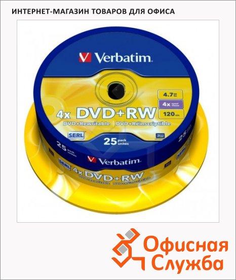 фото: Диск DVD+RW Verbatim 4.7Gb 4х, Cake Box, 25шт/уп