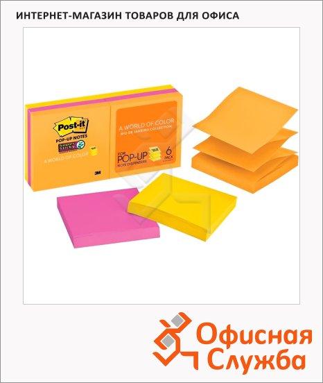 Блок для записей с клейким краем Post-It Super Sticky 3 цвета, неон, 76х76мм, 6х100 листов, Z-блок, R330-6SSUC