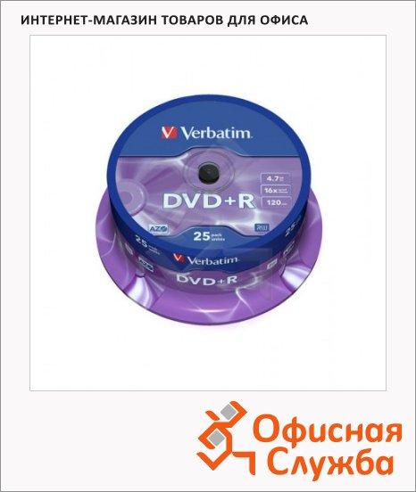 Диск DVD+R Verbatim 4.7Gb, 16х, Cake Box, 25шт/уп