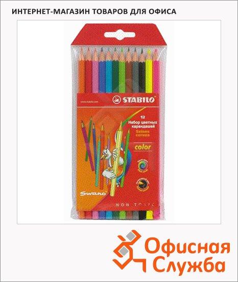 Набор цветных карандашей Stabilo Color 12 цветов (10 базовых + 2 флюресцентных)