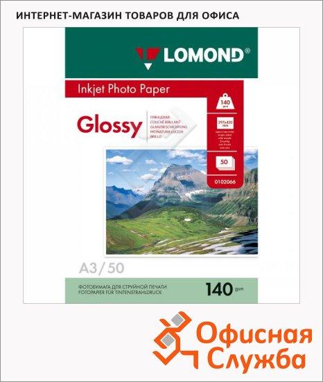 Фотобумага для струйных принтеров Lomond А3, 50 листов, глянцевая, 140 г/м2