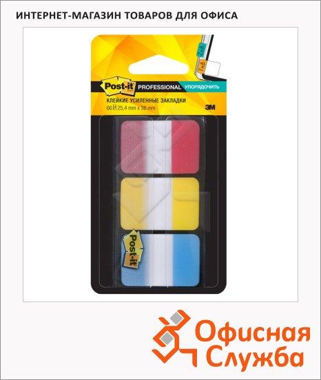 Клейкие закладки пластиковые Post-It Professional 3 цвета, 25х38мм, 66шт, в диспенсере, 686-RYB-RU