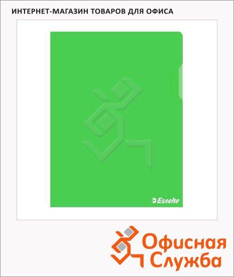 Папка-уголок Esselte зеленая, A4, 150мкм, 25 шт/уп, 55436