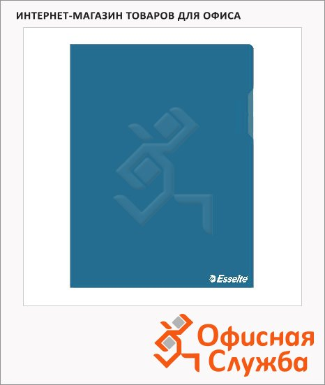 Папка-уголок Esselte синяя, A4, 150мкм, 25 шт/уп, 55435