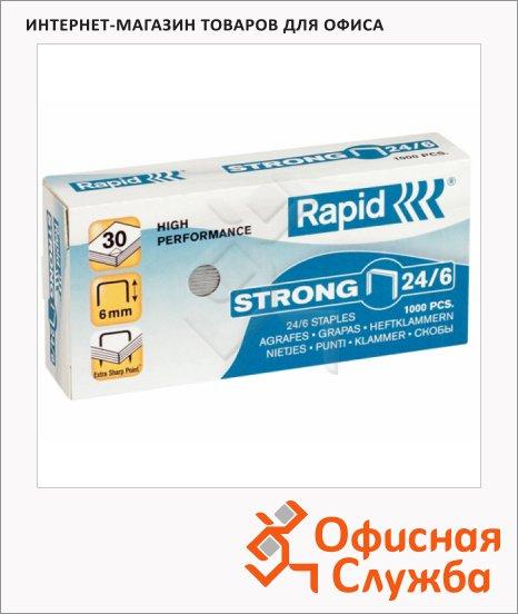 Скобы для степлера Rapid Strong 1M №24/6, стальные, 1000 шт