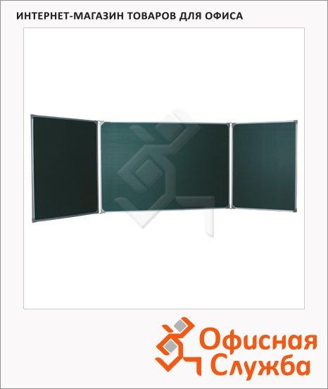фото: Доска меловая Boardsys 300х100см зеленая, магнитная, лаковая, алюминиевая рамка, двустворчатая