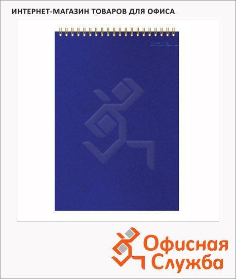 Блокнот Attache Микровельвет синий, А5, 50 листов, в клетку, на спирали, картон