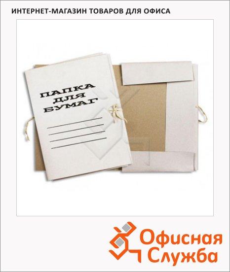 Картонная папка на завязках Attache белая, А4, до 200 листов, 440г/м2