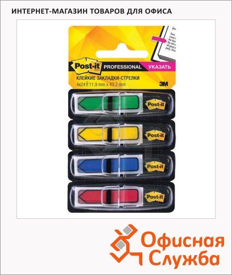 Клейкие закладки пластиковые Post-It Professional 4 цвета, 12х43мм, 4х24 листа, в диспенсере, 684-ARR3